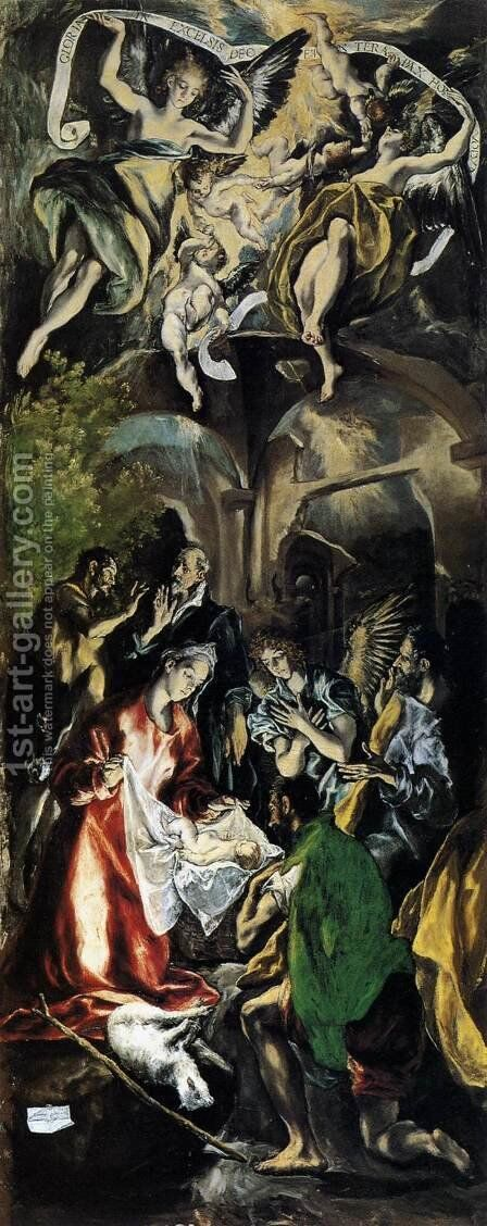 Adoration of the Shepherds 1596-1600 by El Greco - Reproduction Oil Painting