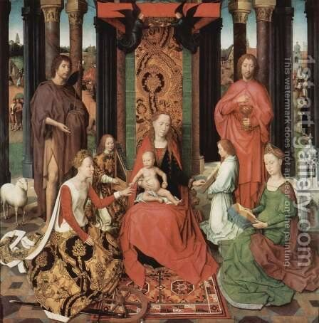 St John Altarpiece (central panel) 1474-79 by Hans Memling - Reproduction Oil Painting