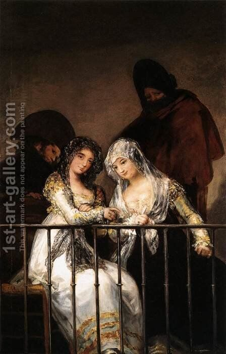 Majas On A Balcony by Goya - Reproduction Oil Painting