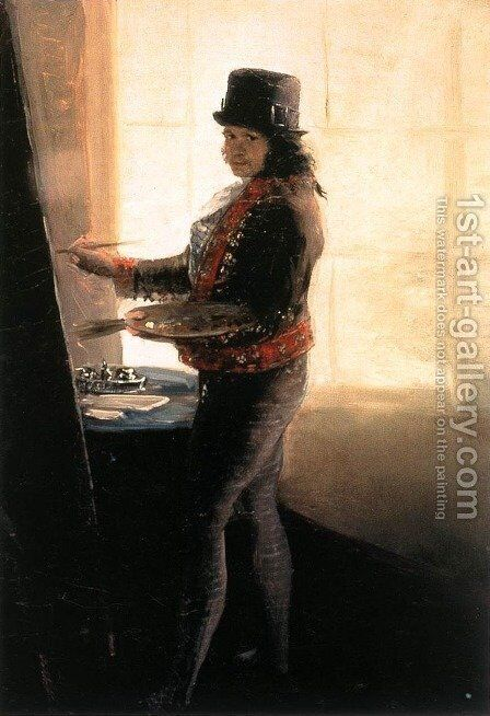 Self Portrait In The Workshop by Goya - Reproduction Oil Painting