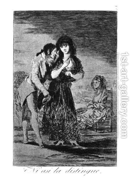 Caprichos  Plate 7  Even Thus He Cannot Make Her Out by Goya - Reproduction Oil Painting