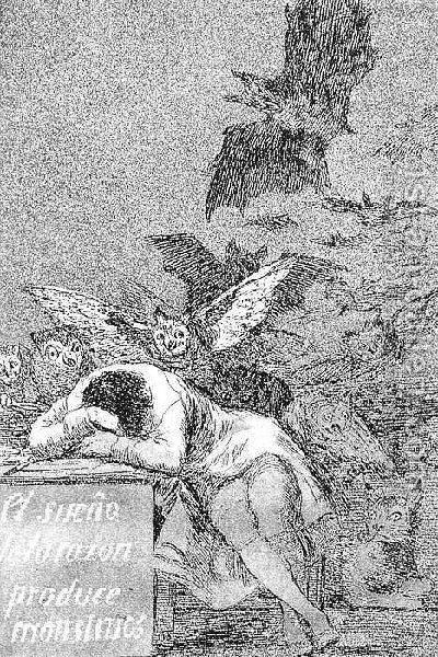 Caprichos  Plate 43  The Sleep Of Reason Produces Monsters by Goya - Reproduction Oil Painting