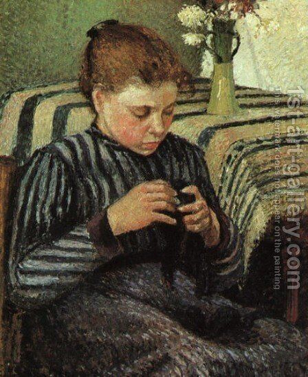 Girl Sewing 1895 by Camille Pissarro - Reproduction Oil Painting