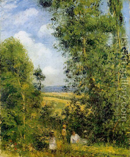 Resting in the Woods at Pontoise 1878 by Camille Pissarro - Reproduction Oil Painting