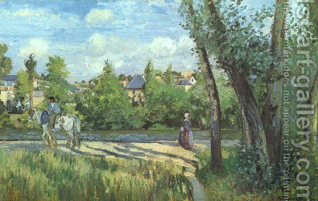 Sunlight on the Road- Pontoise 1874 by Camille Pissarro - Reproduction Oil Painting