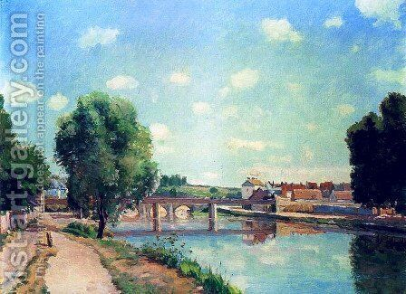 The Railway Bridge at Pontoise 1873 by Camille Pissarro - Reproduction Oil Painting