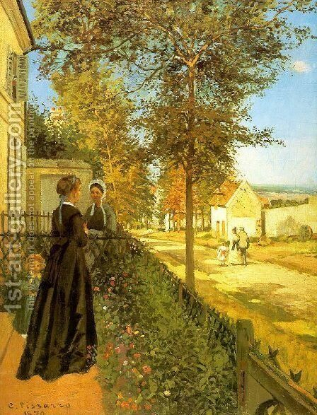 Louveciennes- The Road to Versailles 1870 by Camille Pissarro - Reproduction Oil Painting