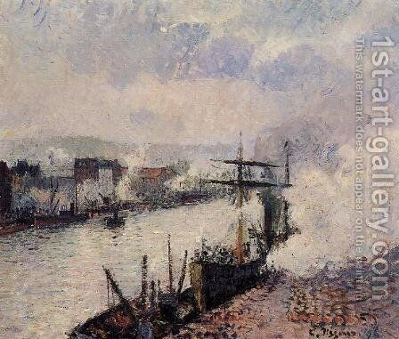 Steamboats In The Port Of Rouen by Camille Pissarro - Reproduction Oil Painting
