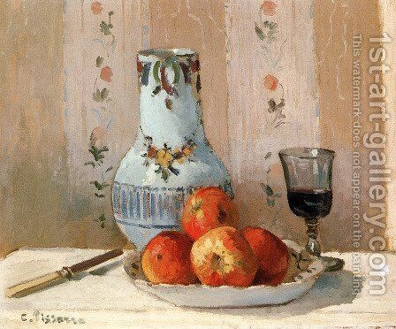 Still Life With Apples And Pitcher by Camille Pissarro - Reproduction Oil Painting