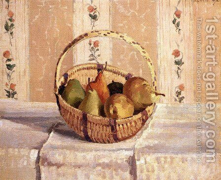 Still Life  Apples And Pears In A Round Basket by Camille Pissarro - Reproduction Oil Painting