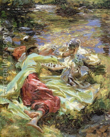 The Chess Game by Sargent - Reproduction Oil Painting