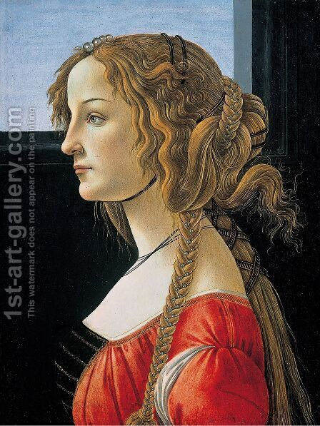 Portrait of a Young Woman, after 1480 by Sandro Botticelli (Alessandro Filipepi) - Reproduction Oil Painting