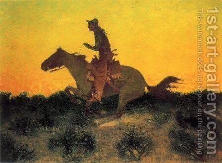Against The Sunset by Frederic Remington - Reproduction Oil Painting