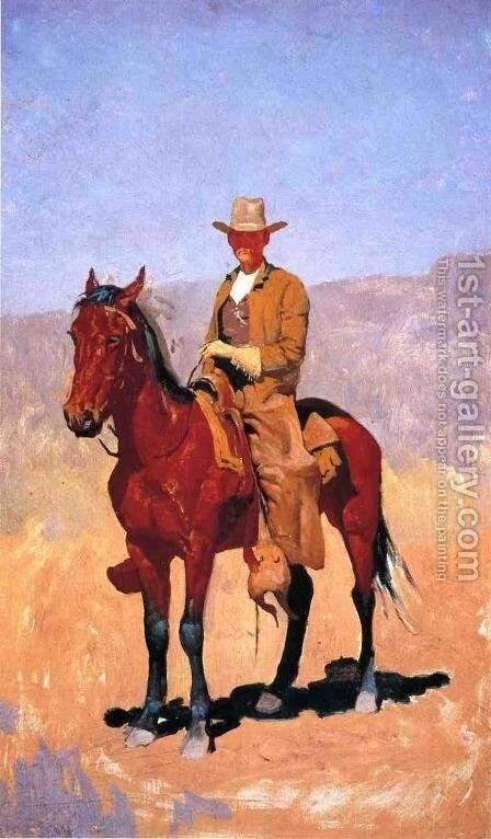 Mounted Cowboy In Chaps With Race Horse by Frederic Remington - Reproduction Oil Painting