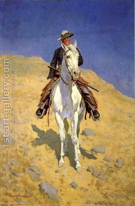 Self Portrait On A Horse by Frederic Remington - Reproduction Oil Painting