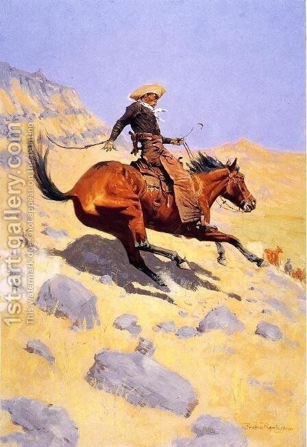 The Cowboy by Frederic Remington - Reproduction Oil Painting