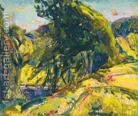 Landscape   With Green Tree by Alfred Henry Maurer - Reproduction Oil Painting