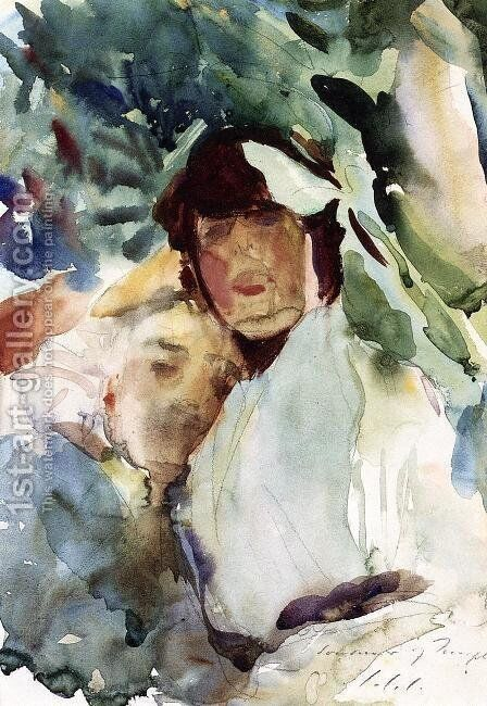 Ena Wertheimer With Antonio Mancini by Sargent - Reproduction Oil Painting