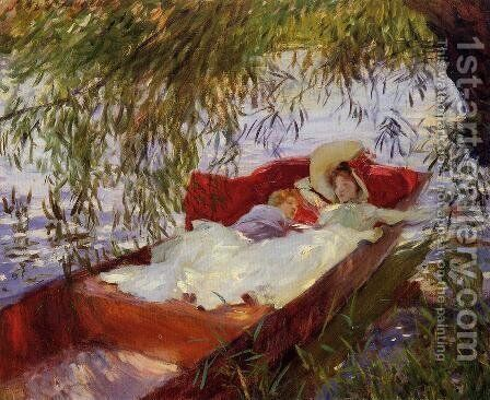 Two Women Asleep In A Punt Under The Willows by Sargent - Reproduction Oil Painting