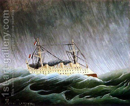 The Boat In The Storm by Henri Julien Rousseau - Reproduction Oil Painting