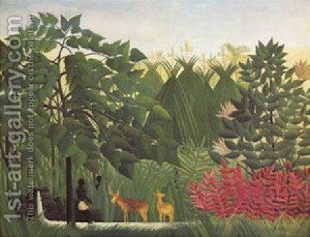 Waterfall by Henri Julien Rousseau - Reproduction Oil Painting
