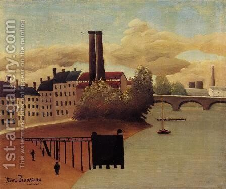 View Of The Outskirts Of Paris by Henri Julien Rousseau - Reproduction Oil Painting