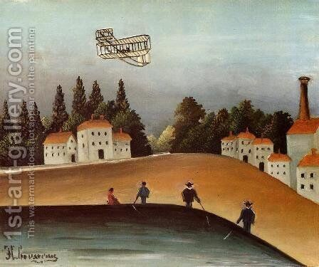 The Fishermen And The Biplane by Henri Julien Rousseau - Reproduction Oil Painting