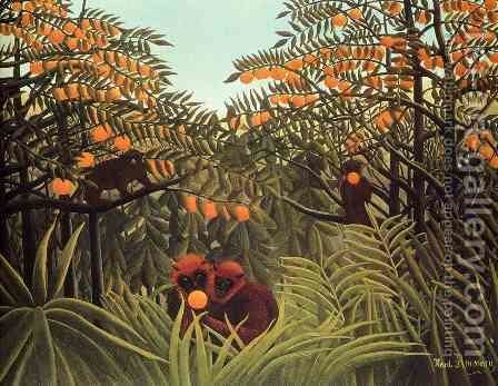 Apes In The Orange Grove by Henri Julien Rousseau - Reproduction Oil Painting