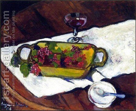 Still Life Grapes by Suzanne Valadon - Reproduction Oil Painting