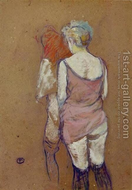 Two Half Naked Women Seen From Behind In The Rue Des Moulins Brothel by Toulouse-Lautrec - Reproduction Oil Painting