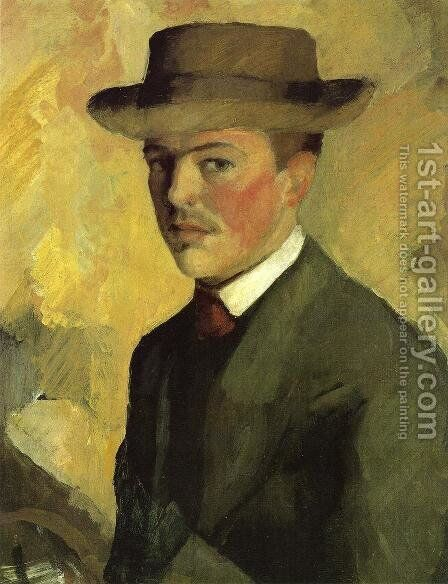Self Portrait 1909 by August Macke - Reproduction Oil Painting