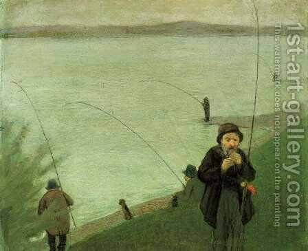 Fishing At The Rhine by August Macke - Reproduction Oil Painting