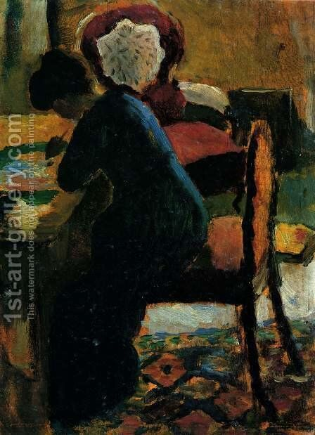 Elisabeth At The Desk by August Macke - Reproduction Oil Painting