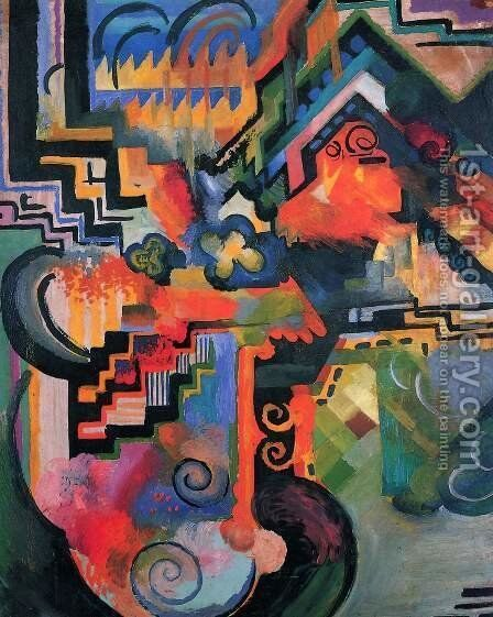 Colored Composition by August Macke - Reproduction Oil Painting