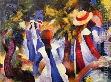 Girls In The Forest by August Macke - Reproduction Oil Painting