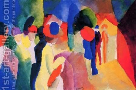 Girl With A Yellow Jacket by August Macke - Reproduction Oil Painting