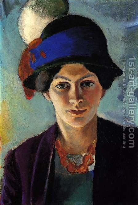 Portrait of the Artist's wife Elisabeth with a Hat (Frau des Kunstlers mit Hut)  1909 by August Macke - Reproduction Oil Painting