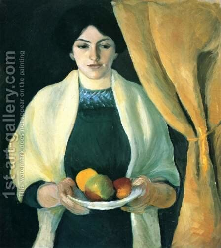 Portrait with Apples- Wife of the Artist  1909 by August Macke - Reproduction Oil Painting