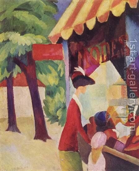 A Woman With Red Jacket And Child Before The Hat Store by August Macke - Reproduction Oil Painting