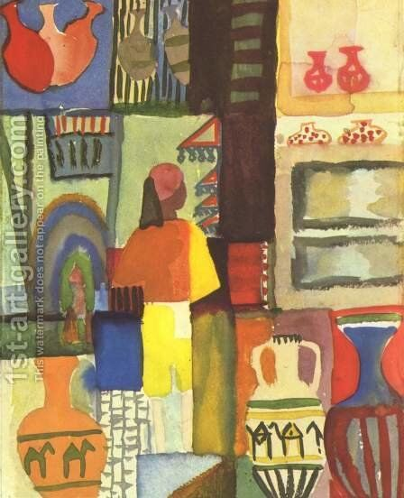 Dealer With Pitchers by August Macke - Reproduction Oil Painting