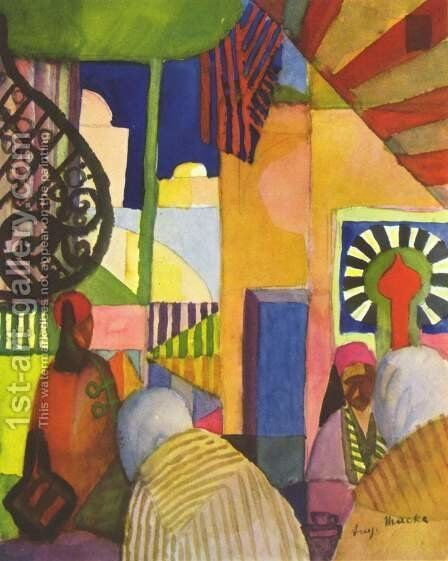 In The Bazar by August Macke - Reproduction Oil Painting