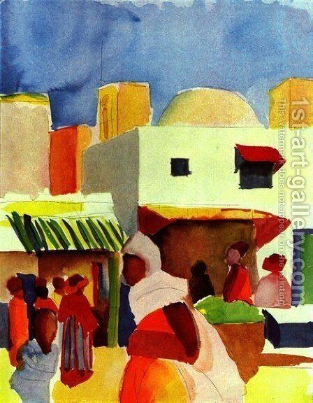 Market In Algier by August Macke - Reproduction Oil Painting