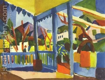 Terrace Of The Country House In St  Germain by August Macke - Reproduction Oil Painting