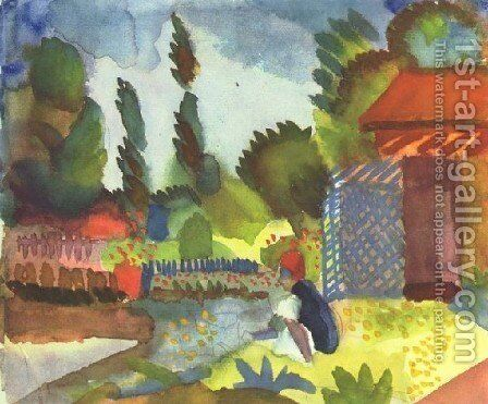 Sitting Arab by August Macke - Reproduction Oil Painting