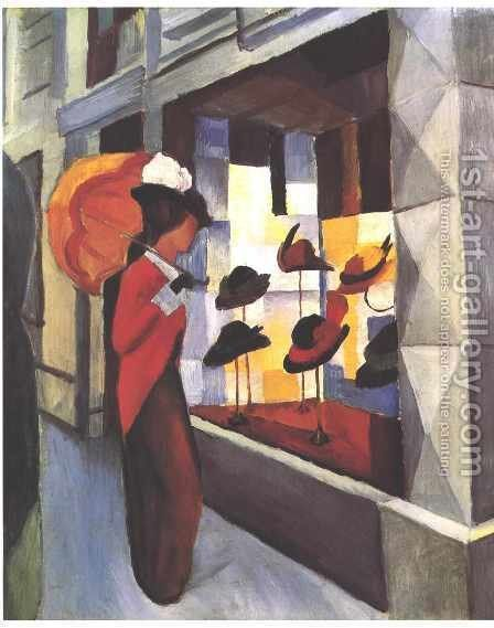 Before The Hat Shop by August Macke - Reproduction Oil Painting