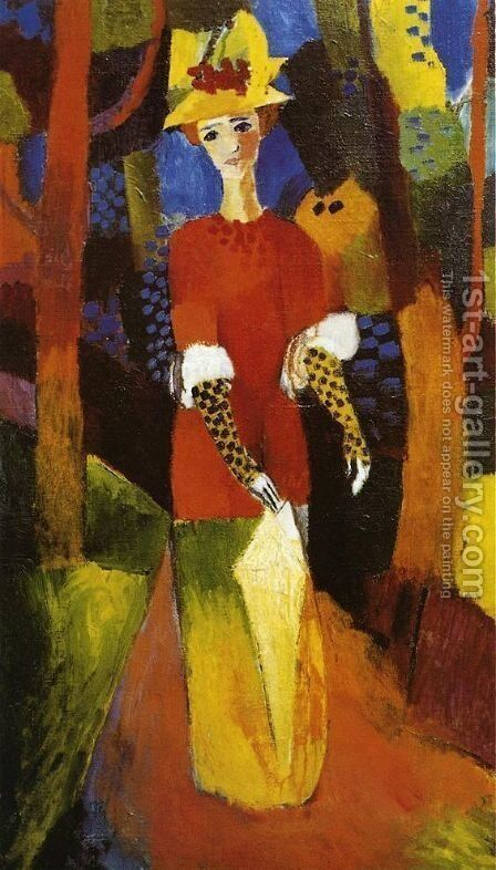 Womain In A Park by August Macke - Reproduction Oil Painting
