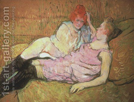 On The Sofa by Toulouse-Lautrec - Reproduction Oil Painting