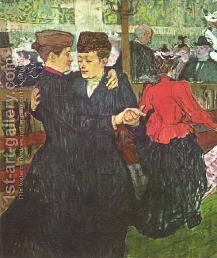 Two Women Dancing At The Moulin Rouge by Toulouse-Lautrec - Reproduction Oil Painting