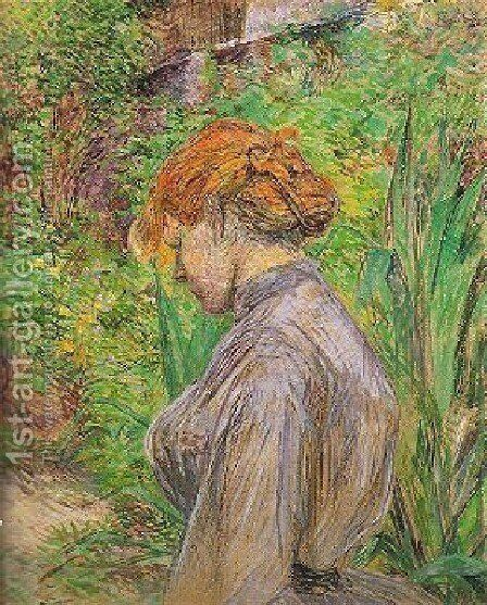Red Headed Woman In The Garden Of Monsieur Foret by Toulouse-Lautrec - Reproduction Oil Painting
