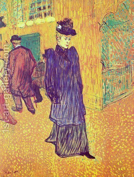 Jane Avril Infront Of The Moulin Rouge by Toulouse-Lautrec - Reproduction Oil Painting